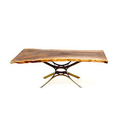 Single Slab Claro Walnut Top - 50's Base in Oil Rubbed Bronze by Roger Sprunger for Dunbar